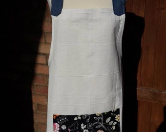 Japanese style crossback apron  cotton denim No ties apron