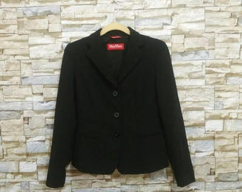 Vintage Max Mara Jacket Black Coat Rayon Made in Italy Max Mara