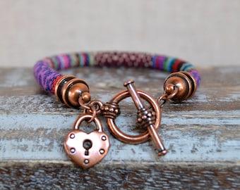 Boho Single Wrap Padlock Charm Bracelet
