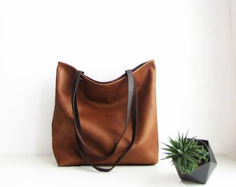 Cognac Tote Bag, Large tote bag, Distressed,  Rustic Look, Casual tote, Eco vegan leather, Shopper,