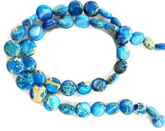 8-12mm Natural Impression Jasper stone blue round Disc Coin Loose Beads strand 16inch
