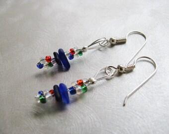Genuine Sea Glass Jewelry -Beachglass - Beadwork Dangle Earrings - Cobalt Blue - Sea Glass Earrings-Prince Edward Island Mermaid Tears