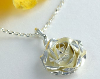 Silver Rose Pendant - Sterling Silver Rose Necklace - Flower Jewellery - Birthday Gift for Her