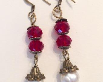 Downton Abbey Inspired Garnet and Fresh Water Pearl Earrings