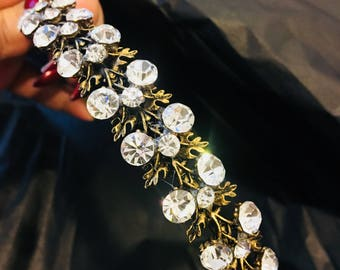 vintage gold crystal headband