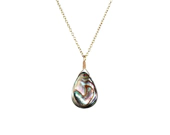 Abalone necklace - shell necklace - teardrop - everyday - a wire wrapped abalone shell on a 14k gold vermeil or sterling silver chain - AB2