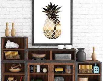 Summer Print, Printable Artwork, Modern Wall Art, Digital Prints, Pineapple Print, Summer Art, Pineapple Art, Tropical Decor, Beach Decor