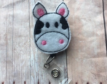 Cow badge reel -- perfect gift for anyone who wears a badge to work -- teacher, nurse, doctor, school employee, hospital employee