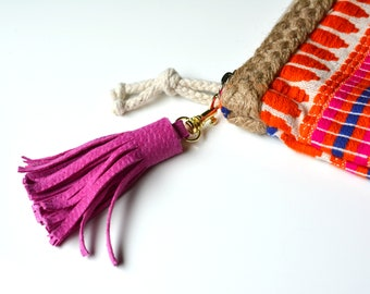 BETA Small Pink Suede Leather Tassel, Purse Tassel, Bag Charm, Handbag Charm, Leather Tassel, zipper pull,  stocking stuffer