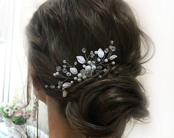 Leaves Hair Comb Bridal Hair Piece Pearl Hair Comb Wedding Accessories Crystal Hairpiece Bridal Beaded Comb Hair Accessory Pearl Hairpiece