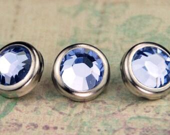10 Provence Lavender Crystal Hair Snaps - Round Silver Rim Edition -- Made with Swarovski Crystal Element Rhinestones