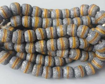 African Beads, Krobo Recycled Glass Beads from Ghana, Grey, 10 mm, 1 strand