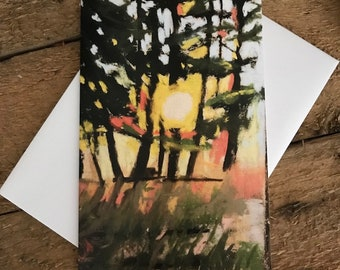 Afternoon Glow - 4x6 Greeting Card Blank, art, forest, trees, woods, sun