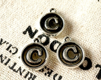 Alphabet letter C charm silver vintage style jewellery supplies
