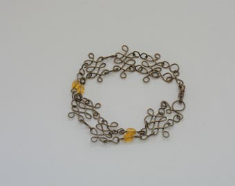 Antique Bronze Wire Bracelet with Amber Crystals