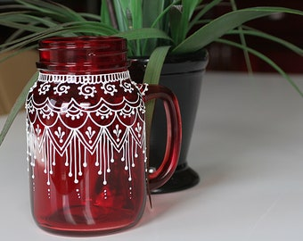 Henna Mason Jar- Red Mason Jar- Glass Mason Jar