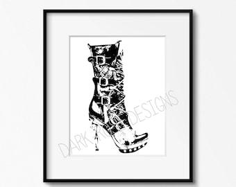 "Instant Download Printable Art, Digital Download, Wall Art, Digital Print, Steampunk Heel 8 x 10"""
