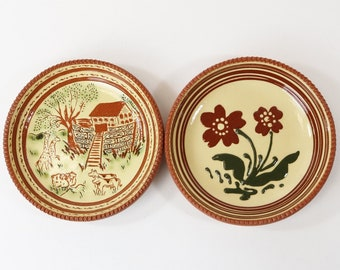 Pair of Greenfield Village Pottery Plate by Alice M Beaudry H64 & H190