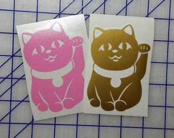 Lucky Cat Maneki Neko Beckoning Cat Stickers Vinyl Decal