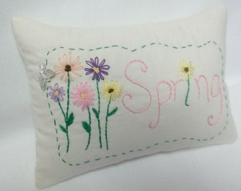Spring Flowers Hand Embroidered Mini Pillow, Spring Decor Shelf Pillow