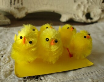 "chenille chicks mini 1"" 1/2 baby chickens easter craft supplies vintage style yellow chicks baby animals easter crafting party favors"
