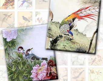 Vintage japanese chinese birds digital collage sheet 0.75 x 0.83 inches jewelry making paper (248) Buy 3 - get 1 bonus