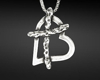 Cross My Heart, I Love You Small Necklace in Sterling Silver with 20 inch Sterling Silver box chain