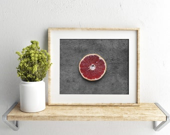 ruby grapefruit // food photography print // kitchen decor // kitchen wall art  // dining room wall art // rustic wall art // citrus fruit
