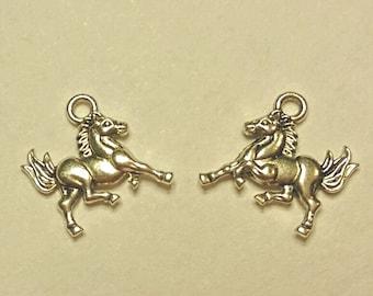 Horse Charms - 12 pcs. - Silver Horse Charm - Antique Silver Charms - Animal Charms - 3D Charms - Two Sided Charms - Charms - Silver Charms