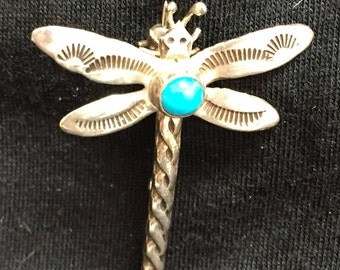 Sterling and Turquoise Dragonfly Pin