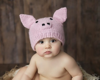 Pig Hand Knit Hat for Baby and Child