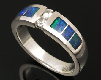 Australian Opal and White Sapphire Sterling Silver Ring by Hileman Silver Jewelry