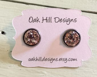 10mm rose gold druzy with a gunmetal setting-bridesmaid earrings-special occasion earrings