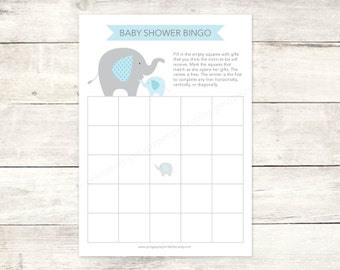 baby shower bingo game card printable DIY elephants blue grey cute baby boy digital shower games - INSTANT DOWNLOAD