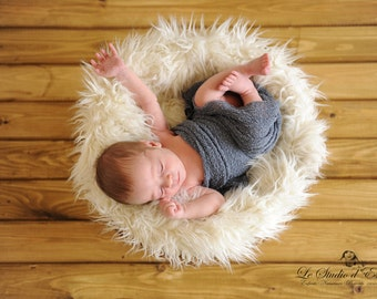 Gray Denim Stretch Knit Wrap Newborn Photography Prop