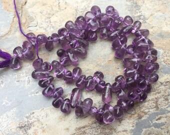 Amethyst Teardrop Beads, Amethyst drops, Natural Amethyst Beads, 8mm approx, 13 inch strand.