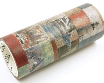 Collage Art 05 Meaning - Wide Japanese Washi Masking Tape - 100mm wide - 5.5 yard