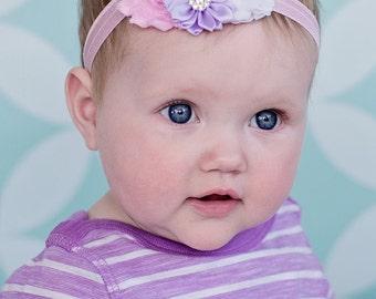 Baby Headband, Infant Headband, Newborn Headband, Light Pink, Lavender, and White Headband, Easter Baby Headbands, Headband, Easter Headband
