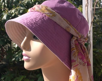 Chemo Cap Cancer Hat Cotton Reversible Sun Hat Chemo Headwear Handmade in the USA  SMALL/MEDIUM