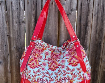 Deer Me Charlotte City Tote~ Tula Pink Moonshine Fabrics & Red Glitter Vinyl~ Ready To Ship!