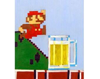 Nintendo Art, Funny Beer Poster, Video Game Art, Super Mario Brothers and Beer Pint, Art for Men, Beer Gift for Him, Bar Art, Groomsman Gift