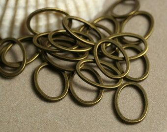 Antique brass thick (1mm thick) oval link 15x9mm, 20 pcs (item ID YWABFA00536)