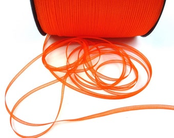 10 meters of 3mm - orange organza Ribbon