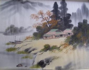 Japanese Painting on Silk Japan Landscape Framed with Glass 13x17 Vintage