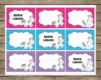 Unicorns Blank Labels ~ Gift Tags ~ Instant Download ~ Party Supplies ~ Buffet Labels ~ Printable Party Decor ~ Birthday Tags