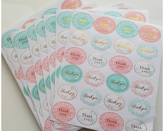 240 thank you stickers, shipping, mailing, decorative stickers