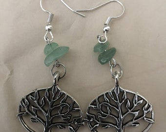 Tree of Life Earrings with Green Aventurine Gemstone Chips