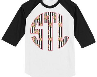 Black & White Striped Floral Monogrammed Raglan T Shirt Heat Pressed Youth-Adult XS, S, M, L, XL, 2XL