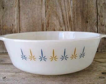 Vintage Fire King Casserole, Anchor Hocking 1-1/2 Qt Baking Dish, Blue Gold Candle Glow Pattern Serving Dish, Retro Kitchen Dishes 1960s