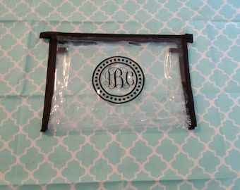Monogrammed Clear Travel Cosmetics Bag